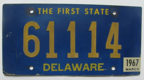 1967 Delaware car license plate ORIGINAL