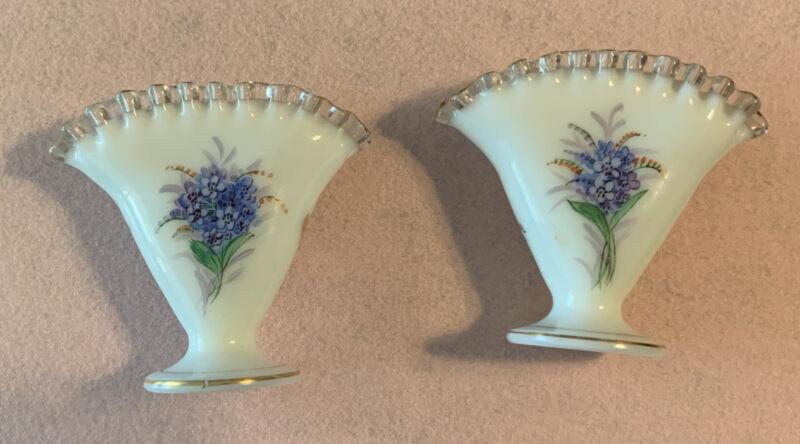 "2- VTG Fenton White Milk Glass Rare Crest Fan Vase 4.25"" Hand Painted Floral"