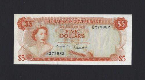 BAHAMAS $5 Dollars 1965, Government Issue P-21a Orange Color, EF+ Original, QEII