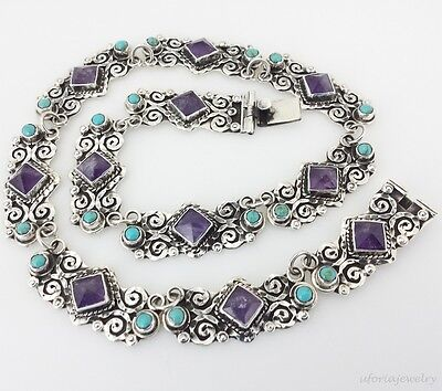 TAXCO VINTAGE DESIGN 925 AMETHYST TURQUOISE NECKLACE |  Mexican Sterling Silver