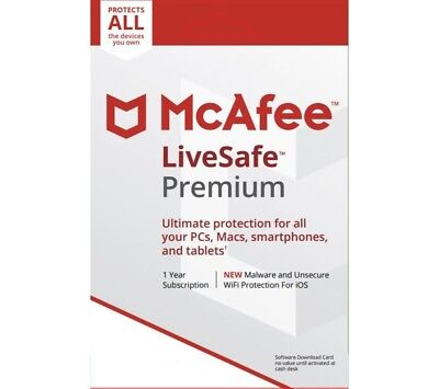 Mcafee Livesafe Unlimited  Device License 2017 2018 Live Safe 1Year Subscription