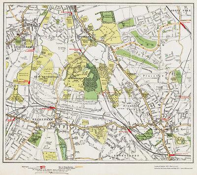 Beckenham Bromley Downham area Map London 1932 #111-112