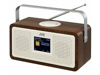BRAND NEW JVC RA-DS77 Portable DAB+/FM Clock Radio- Wood & Cream