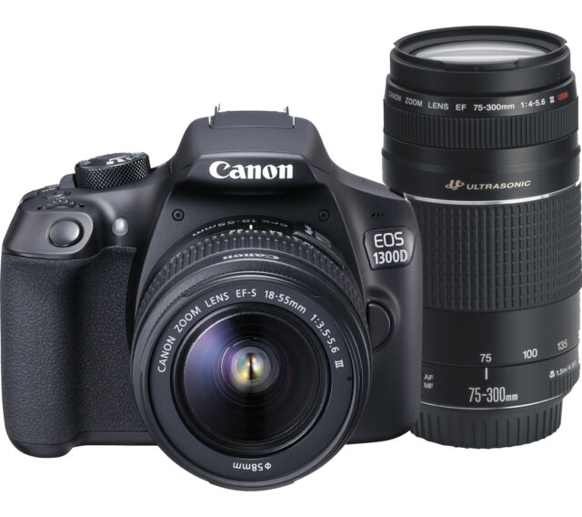 CANON EOS 1300D DSLR Camera & 18-55mm Zoom Lens & 75-300mm Telephoto Zoom Lens