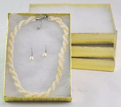 Lot Of 4 Gold Clear Lid Cotton Filled Box Jewelry Set Box Necklace 7 18x5 18