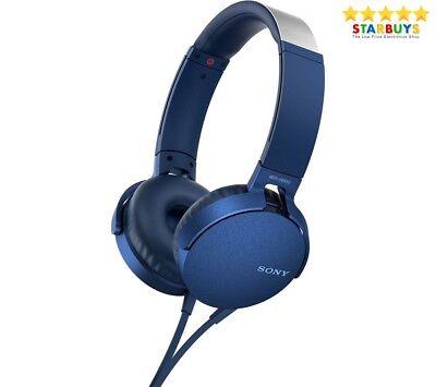 Headphones | Bluetooth over ear headphones | Sony UK Blue with Mic MDR-XB550AP