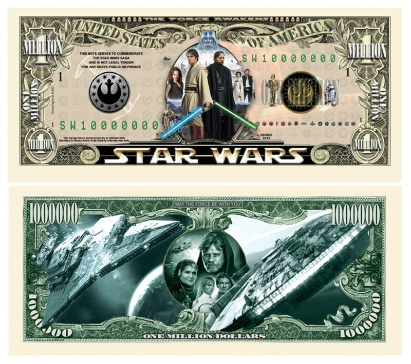 Pack of 100 - Star Wars Movie 1 Million Collectible Novelty Dollar Bill