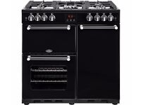 BELLING Kensington 90G Gas and Electric Range Cooker - Black & Chrome