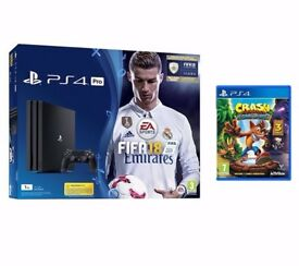 Brand New Playstation (1TB) 4 PRO + 2 games Fifa 18 Ronaldo Edition and Crash Bandicoot