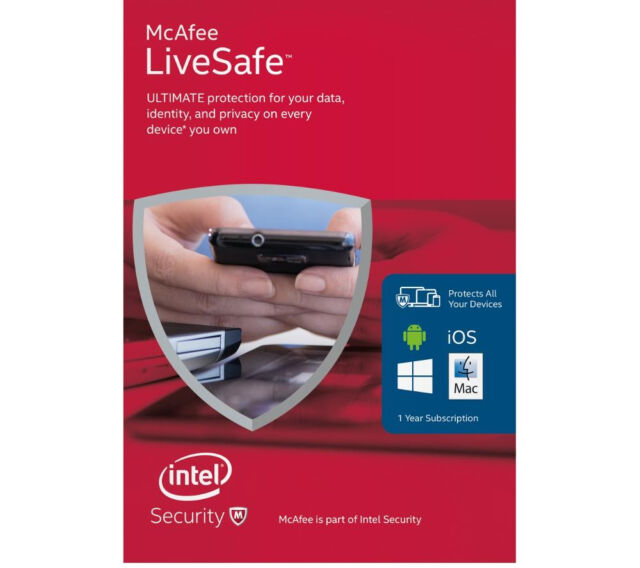 MCAFEE LiveSafe Unlimited - Product key Card - 1 Year -  Unlimited Devices