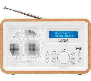 LOGIK LHDR15 Portable DAB/FM Clock Radio LCD Screen Light Wood & White