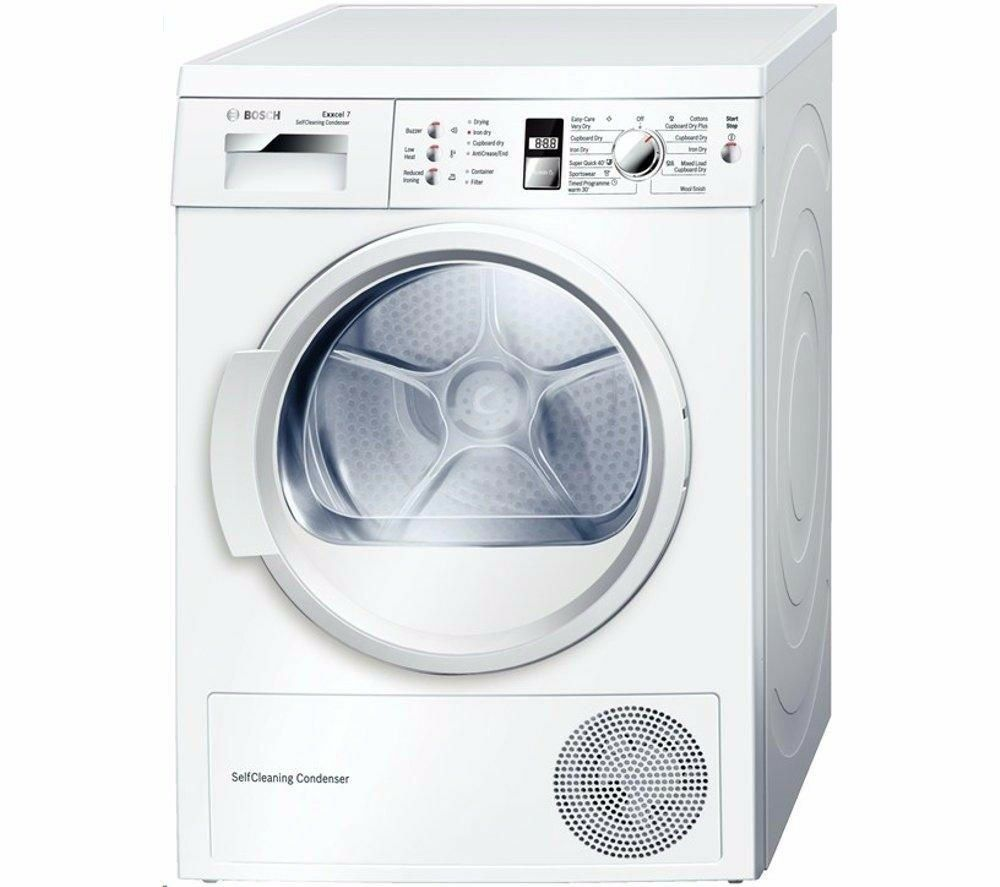 BOSCH Serie4 Heat Pump Condenser Tumble Dryer 7kg Sensor drying WTW863S1GB White