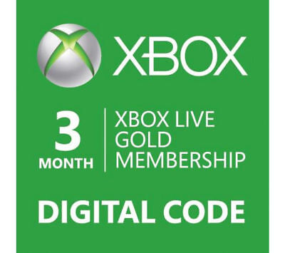 XBOX Live 3 Month Gold Subscription Card Region Free (Xbox One/360) worldwide, used for sale  Shipping to United States