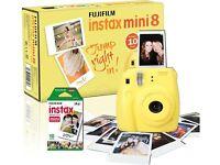 FUJIFILM Instax Mini 8 Instant Camera & 10 Shot Bundle - Yellow