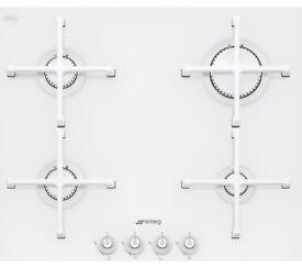 EX-DISPLAY SMEG 60CM WIDE WHITE GAS ON GLASS HOB REF: 31501