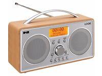 Portable DAB+/FM Clock Radio - Silver & Wood L55DAB15
