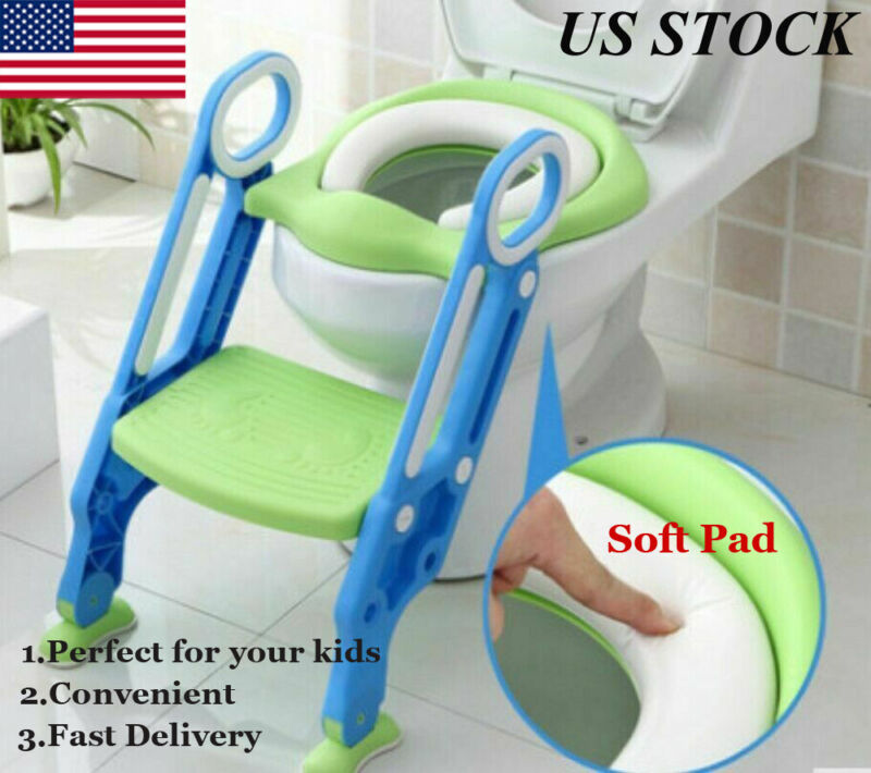 Toddler Toilet Chair Kids Potty Training Seat with Step Stool Ladder For Kids US