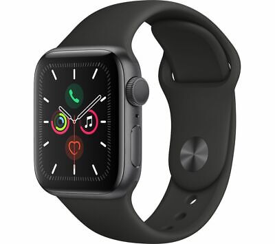 APPLE Watch Series 5 Space Grey Aluminium with Black Sports Band,ECG app -44 mm