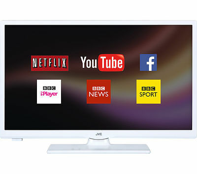 """JVC LT-24C661 24"""" HD SMART LED TV Freeview HD, Built-In WiFi, USB Record - White"""