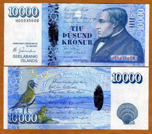 Iceland, 10000 (10,000) Kronur 2001 (2013), P-61, Hybrid polymer Gem UNC