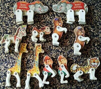 Fischer Price Vintage Posable Wooden Circus Animals Set Of 11