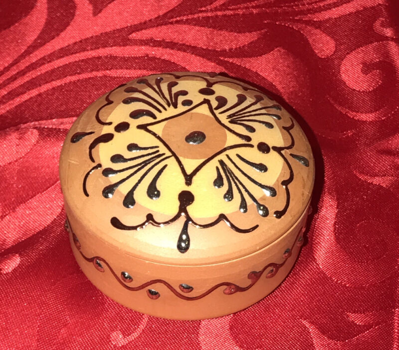 Red Clay/Tera Cotta Hand Painted Trinket Box w/ Lid