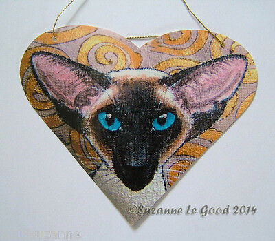 ORIGINAL DESIGN SEALPOINT SIAMESE CAT HEART PAINTING SIGN BY SUZANNE LE GOOD