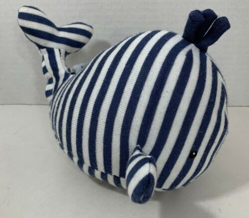 Little Jellycat Walter Whale Plush baby toy chime rattle blue white stripes