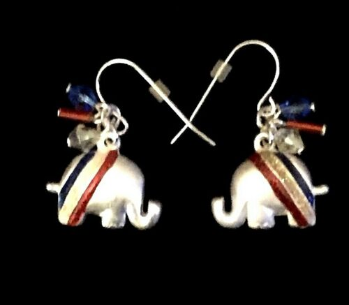 Vintage Silver Tone Election USA GOP Trump Republican Elephant Pierced Earrings