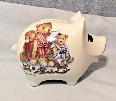 VTG Reutter Porzellan Germany Porcelain Pig Piggy Bank Teddys Spielstunde Bears