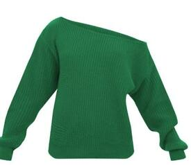 Emerald Green Off Shoulder Knitted Crop Jumper