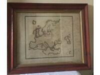 Old map of Europe framed
