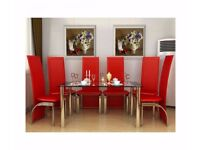 Edna Modern Black and Clear Glass Chrome Dining Table With 6 Red Chairs