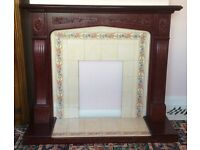 Wood and tiled fire surround