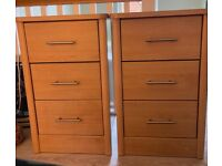 Two identical bedside cabinets