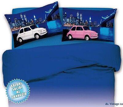Juego de Sábanas Queen Size 1 1/2 500 Cars Blanco Rosa Azul 100% Algodón