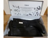 GABOR LADIES LOVELL WIDE BLACK LEATHER BOOTS - BRAND NEW - SIZE 5