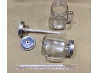 12 unused 440ml Glass Handled Mason Jars with lids and straws