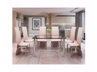 Edna Modern Black and Clear Glass Chrome Dining Table With 6 Cream Chairs