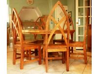 Unique, bespoke, rustic pine, solid farmhouse kitchen round table and 6 chairs.