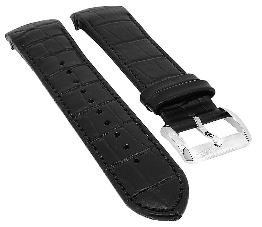 Hugo Boss 1513367 | Uhrenarmband Leder Kroko-Optik schwarz