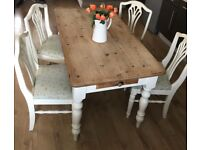 Beautiful shabby chic farm house table with draw and four chairs