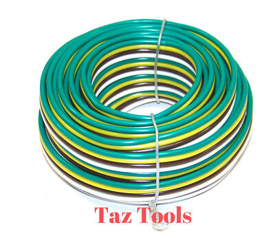 25ft. 12v 16 Awg 4 Way Bonded Trailer Wire Taillight Stop Turn 4 Colors Code