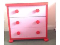 Ikea pink/red kids chest of drawers