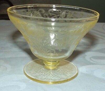 Florentine #2 yellow depression glass sherbet by the Hazel Atlas glass company