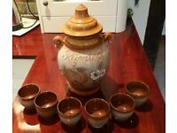 Large size Rumtoft lidded jar with 6 drinking cups and instruction leaflet. Perfect condition.