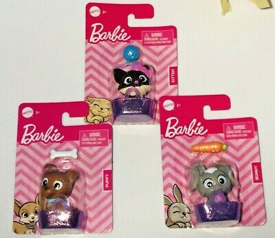 BARBIE Doll Pets ~ Bunny, Puppy & Kitten W/ Basket Food and Toys Mattel LOT Of 3