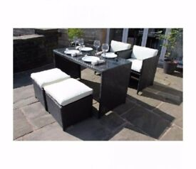 Elvin Rattan Outdoor Garden Furniture 5 pc Mini Cube Set in Black