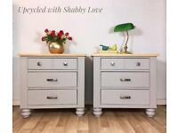 Farmhouse Shabby Chic Country Rustic 2 BEDSIDE CABINETS/CHEST OF DRAWERS. Delivery available