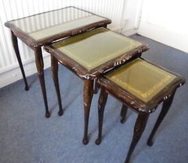 Nest of Tables with Leather and Glass Tops